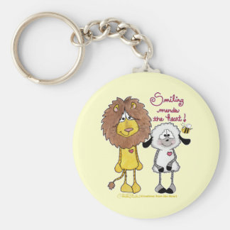 Lion and Lamb Heart Patches Key Chains