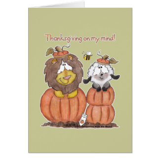 Lion and Lamb in Pumpkins Card