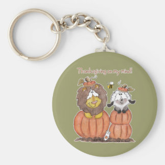 Lion and Lamb in Pumpkins Keychains