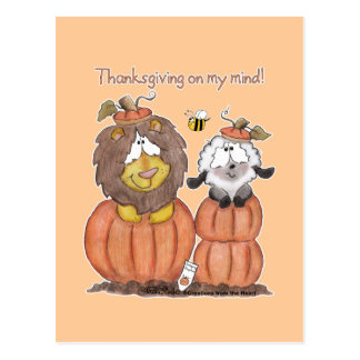 Lion and Lamb in Pumpkins Postcard