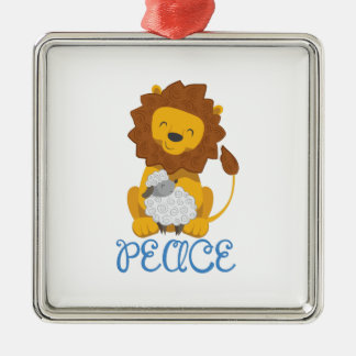 LION AND LAMB PEACE SQUARE METAL CHRISTMAS ORNAMENT