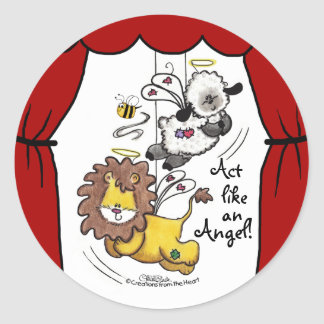 Lion and Lamb-Play Angels Classic Round Sticker