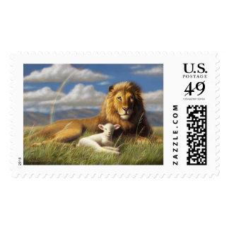 Lion and Lamb postal stamp