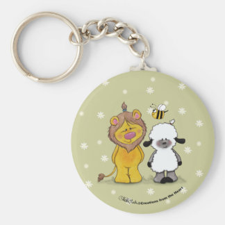 Lion and Lamb True Friends Basic Round Button Keychain