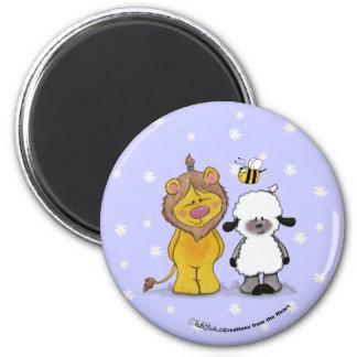 Lion and Lamb True Friends Refrigerator Magnet