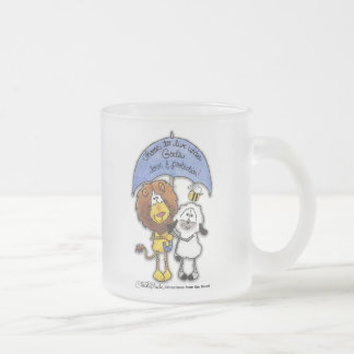 Lion and Lamb Under Umbrella Frosted Glass Coffee Mug