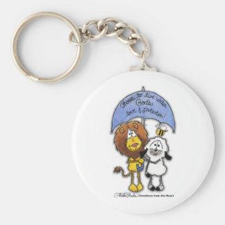 Lion and Lamb Under Umbrella Keychains