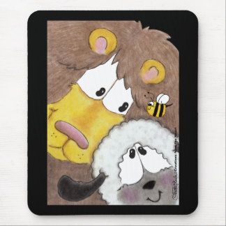 Lion and Lamb Up Close Mouse Pad