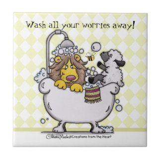 Lion and Lamb- Wash All Your Worries Away! Ceramic Tile