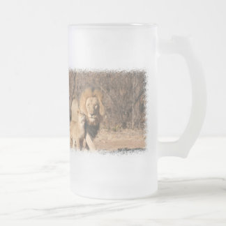 Lion and Lion Cub Frosted Beer Mug