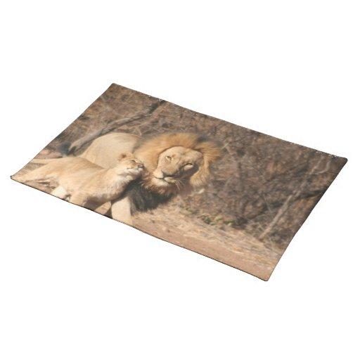 Lion and Lion Cub Placemat Cloth Place Mat