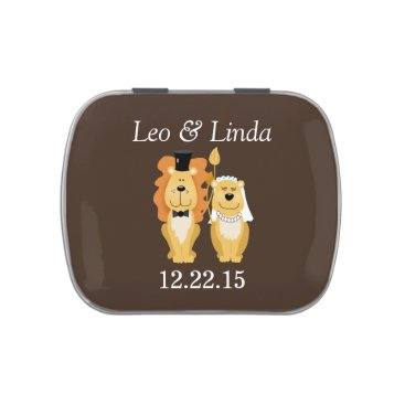 LIon and Lioness Bride/Groom Wedding Tin Jelly Belly Candy Tin