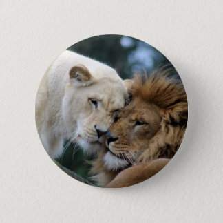 Lion and Lioness Pinback Button