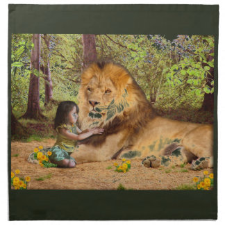 Lion and Little Girl Napkin