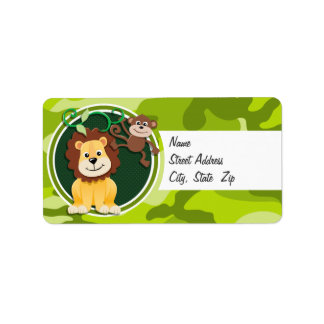Lion and Monkey; bright green camo, camouflage Custom Address Labels