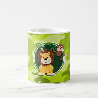Lion and Monkey; bright green camo, camouflage Coffee Mug