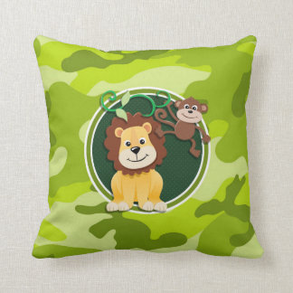 Lion and Monkey; bright green camo, camouflage Pillow