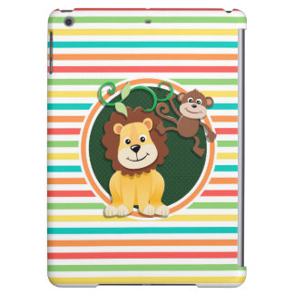 Lion and Monkey; Bright Rainbow Stripes Case For iPad Air