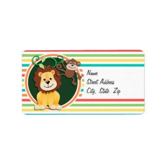 Lion and Monkey; Bright Rainbow Stripes Personalized Address Label