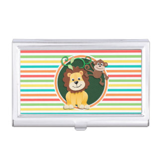 Lion and Monkey; Bright Rainbow Stripes Business Card Case