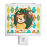 Lion and Monkey on Colorful Argyle Pattern Night Lite