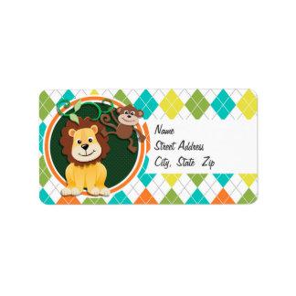 Lion and Monkey on Colorful Argyle Pattern Custom Address Label