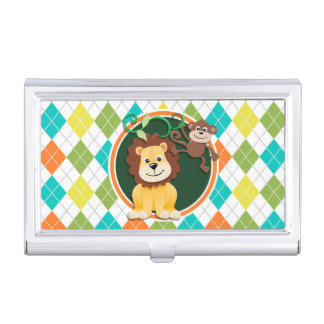 Lion and Monkey on Colorful Argyle Pattern Business Card Holder