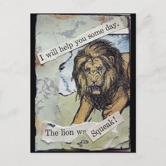 Lion and Mouse Collage postcard