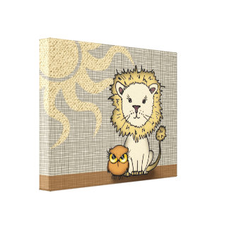 Lion and Owl Nursery Art Print Wrapped Canvas