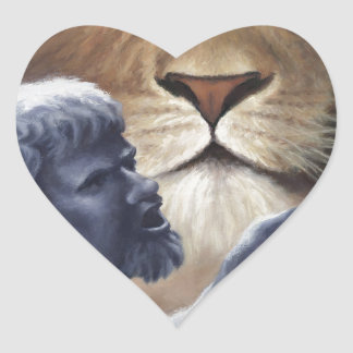 Lion and Statue Heart Sticker