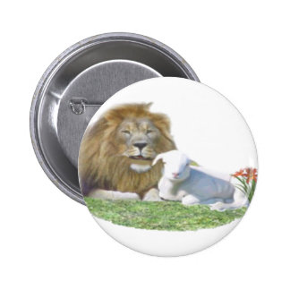 Lion and the Lamb christian art Buttons