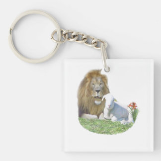 Lion and the lamb Christian gifts Keychain