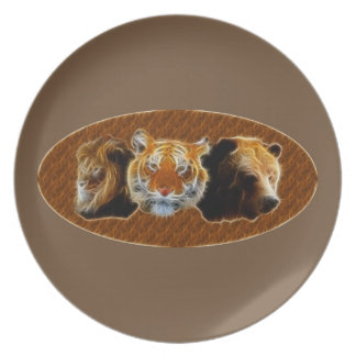 Lion And Tiger And Bear Melamine Plate