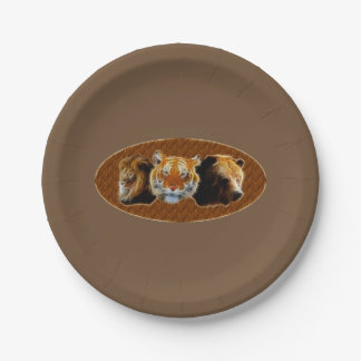 Lion And Tiger And Bear Paper Plate