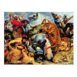 Lion and Tiger hunting by Paul Rubens Postcard