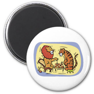 Lion and Tiger Playing Chess 2 Inch Round Magnet
