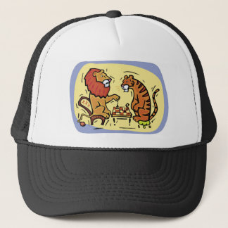 Lion and Tiger Playing Chess Trucker Hat