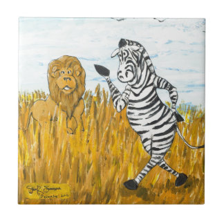 Lion and Zebra Small Square Tile