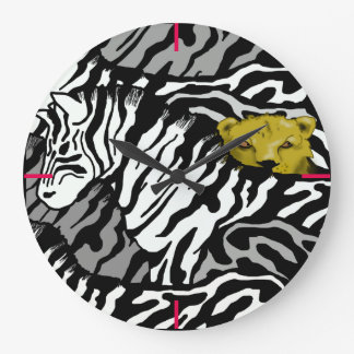 LION AND ZEBRAS LARGE CLOCK