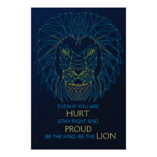 Lion. Animal contemporary triangles trendy design Poster