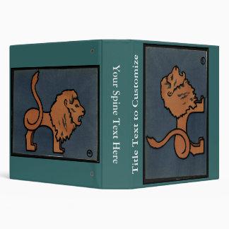 Lion - Antiquarian, Colorful Book Illustration 3 Ring Binder