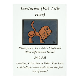 Lion - Antiquarian, Colorful Book Illustration 6.5x8.75 Paper Invitation Card