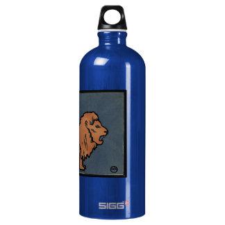 Lion - Antiquarian, Colorful Book Illustration Aluminum Water Bottle