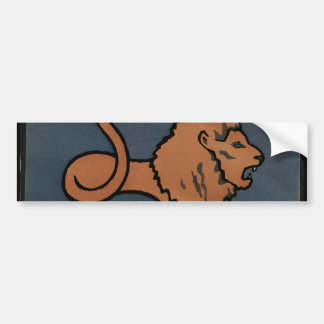 Lion - Antiquarian, Colorful Book Illustration Car Bumper Sticker