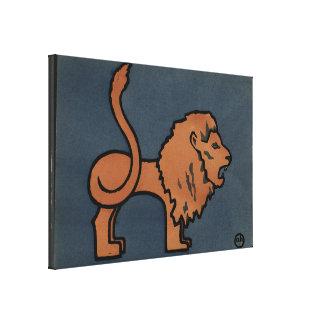 Lion - Antiquarian, Colorful Book Illustration Canvas Print