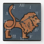 Lion - Antiquarian, Colorful Book Illustration Square Wall Clock