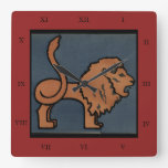 Lion - Antiquarian, Colorful Book Illustration Clocks