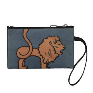 Lion - Antiquarian, Colorful Book Illustration Coin Purse