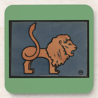Lion - Antiquarian, Colorful Book Illustration Drink Coaster