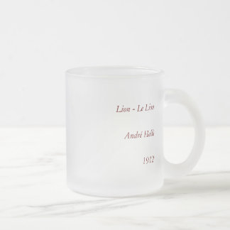 Lion - Antiquarian, Colorful Book Illustration Frosted Glass Coffee Mug